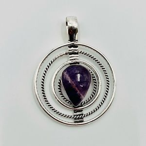 Natural Amethyst S925 Sterling Silver Pendant